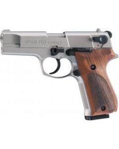 Walther P88 Compact Schreckschusspistole 9mm P.A.K. Vernickelt, Holzgriff