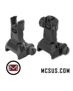 Alpha Low Profile Tactical Flip Up Sights - Set, black