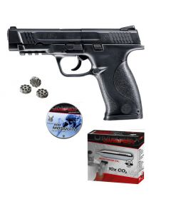 Smith & Wesson M&P 45 cal. 4,5mm Diabolo Set mit 3er Trommeln, 10er Co2 Kapseln + 500 Diabolo